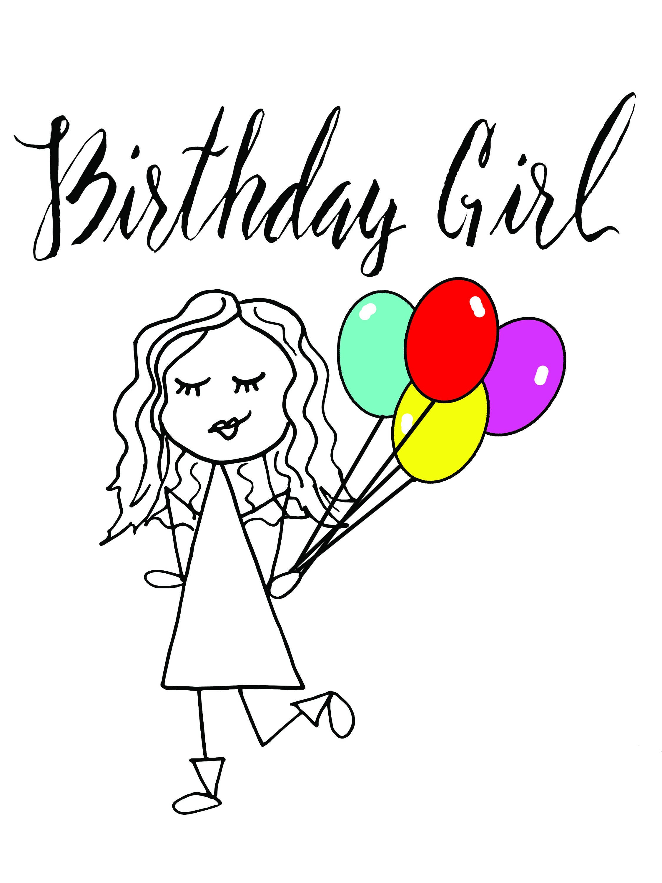 Birthday Day Girl Birthday Card Happy Birthday Girl Greeting Card