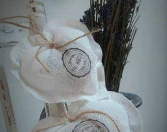 Fabric heart hanging COZY set of 2