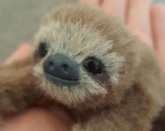 MADE TO ORDER Mini Three Toed Sloth Poseable Art Doll Realistic Stuffed Sloth Animal Sculpture Animal Doll Sloth