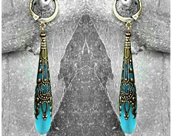 1 kit Bohemian earrings, long bronze turquoise earrings, 70 mm (other color)