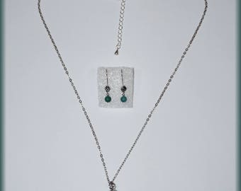 Pendant necklace set: Green agate Teardrop + Earrings