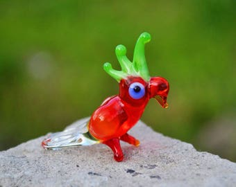 Red Glass parrot figurine animals glass bird miniature art glass parrot toy murano birds tiny small figure glass sculptures parrot dollhouse