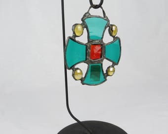 Stained Glass Canterbury Cross from Museum Shop, Green, Red and Gold with Hanging Loop, Gothic Cross Suncatcher