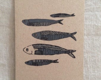 Fish Black Card, greeting card, blank card, kraft paper, rustic card, raw, any occasion card, organic card, nature, sea creature card