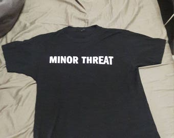 MINOR THREAT Vintage Black T-shirt late 90s Straight Edge Hard Core Ian MacKaye Washington D.C. Vintage