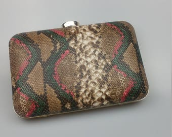 Multicolour Snakeskin Clutch