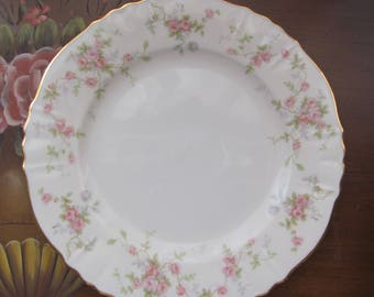 Vintage China, Vintage Plates, Bread & Butter Plate in Primrose by Hanover, Small Vintage Plates, Grey with Pink on Cream Plates
