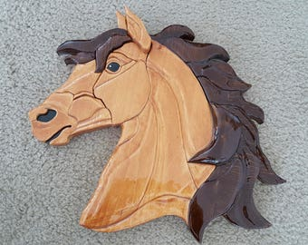 Beautiful 3D handmade horse head wall hanging. Light brown with aa dark brown mane