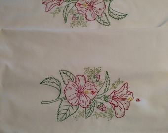 Hand Embroidered Pillow Case Pair - C1105