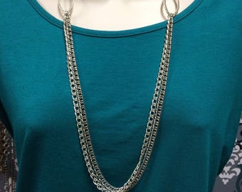 Double Chain Necklace, Layered Necklace, Chain Necklace, Multile Strand Necklace