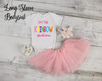 I'm the Rainbow After the Storm LONG SLEEVE Infertility Pregnancy Announcement/Photoshoot Bodysuit, Birth Announcement, Birthday