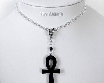 Gothic Black Ankh Necklace