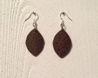 Leaf Earrings, Distressed Leather, Leaves, Leather, Sterling Silver Hooks