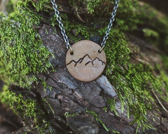 Mountain Range Necklace, Mountain Gift, Mountain Jewelry, Colorado Gift, Hiker Gift, Nature Jewelry, Travel Necklace, Penny Necklace, Custom