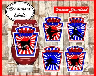 American Ninja Warrior Condiments Label, printable American Ninja Warrior party Condiments Label, American Ninja Warrior Condiments labels