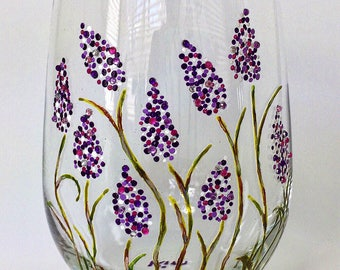 Stemless White Wine Glass with Sweet Lavender