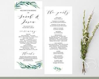 Printable Wedding Program, Green Wreath Ceremony Program, wedding program template, Order of Service, Instant download PDF, WLP345