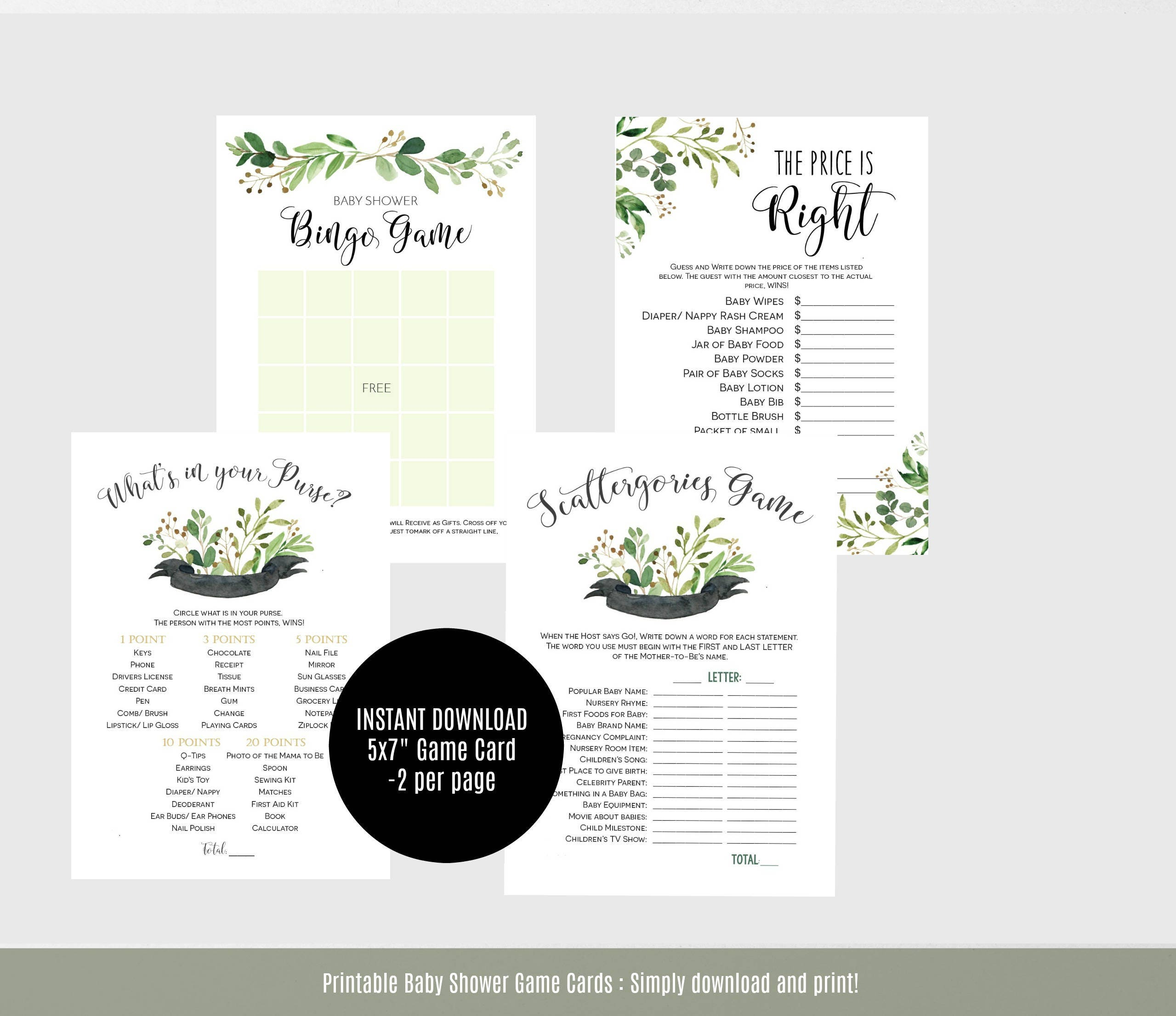 Baby Shower Games, Greenery Baby Shower Game Cards, Printable Instant  Download PDF, WLP460