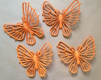 Vintage Butterfly Wall Decor - Set of 4 - Plastic Butterflies - Burwood Products - Vintage Wall Decoration - Orange Butterflies - 1980s