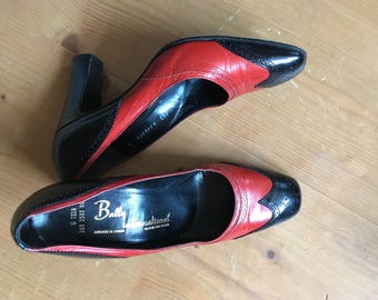 Red and black vintage Bally shoes, pumps,