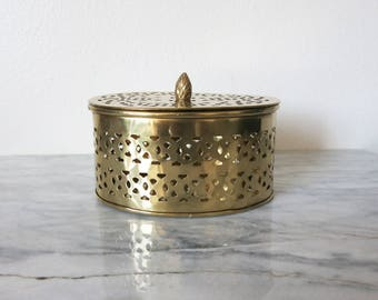 Vintage Brass Canister, Bathroom Storage, Bathroom Vanity, Desk Accessory Her, Keepsake Box, Decorative Tea Box, Desk Organizer Trinket Dish