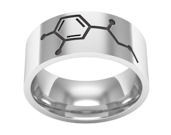 Adrenaline Molecule Ring, Silver Band Ring, Adrenaline Molecule Jewelry, Biology Ring, Chemistry Molcule Ring, Science Ring, Wedding Ring