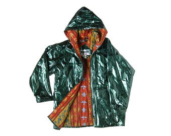Vintage 80s Green Vinyl Hooded Raincoat Zip up Jacket with Graphic Lining (Men's Size Small)