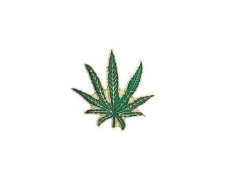 Weed Leaf Pin Metal Enamel Vintage