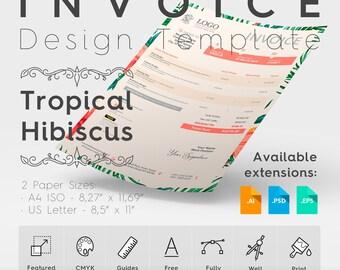 Invoice Design Template. Tropical Hibiscus