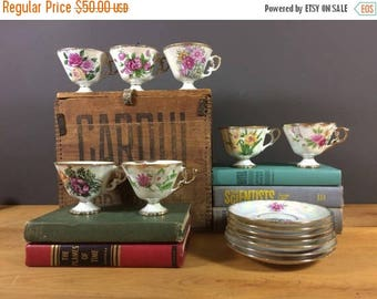 SUMMER CLEARANCE SALE Floral Tea Cup And Saucer Set / Vintage Norlean Fancy China / Shabby Chic Teacups Set / 7 Tea Place Settings / Bridal