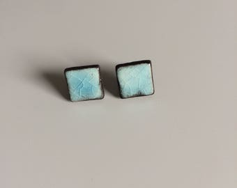 Stud Earrings, square, turquoise, ceramic, nails, ceramic, earrings