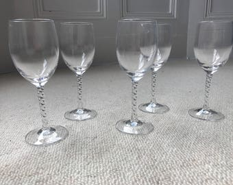 Five Twist Stem Goblets Clear French Glass Water Wine Glasses