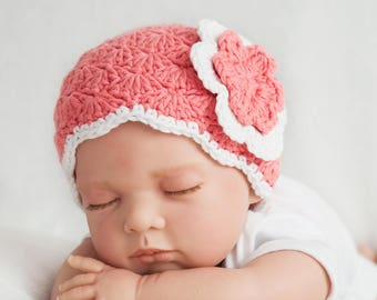 Crochet baby hat for a girl with flower, coral pink and white, newborn prop
