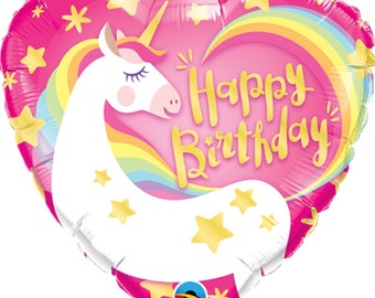 Unicorn Happy birthday mylar heart shaped balloon