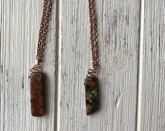 Jasper wire wrapped copper necklace | short length  necklace | gemstone necklace