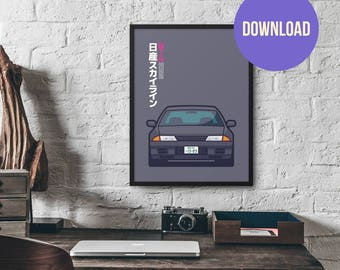 Nissan Skyline R32 GT R Gunmetal Poster Download