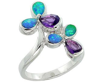 Sterling Silver Blue Opal Flower Statement Ring Amethyst CZ Accent