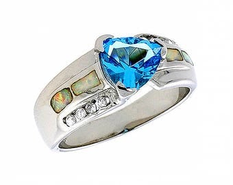 Sterling Silver Pink Opal Multistone Ring Blue Topaz CZ Accent