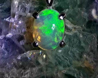 Neon green opal necklace, opal pendant, Sterling silver opal necklace. Natural neon green 1.74ct crystal clear opal necklace. Bright green!