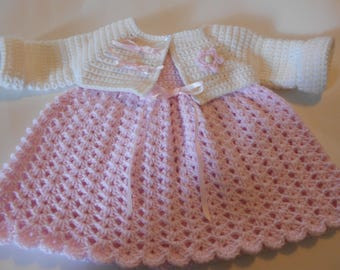 Crochet Baby Dress with Matching Bolero or Coat Dress is Baby Pink Bolero is Soft White With Ribbon Roses and Satin Bows  Size 3 to 6 Months