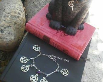 Metallic Pentagram Charm Bracelet