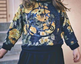 Floral Nirvana Sweater Grey Yellow  Boy Girl Toddler Baby Rock an Roll Grunge Trendy Rocker Hipster Modern Take Home