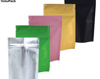 "100pcs/lot 8.5x13cm (3.3x5.1"") Gold Pink Green Black colors tear notch Metallic Mylar zip lock aluminum foil stand up ziplock packaging bag"