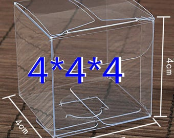 100PCS 4*4*4cm Transparent waterproof Clear PVC boxes Packaging small plastic box storage for food/jewelry/Candy/Gift/cosmetics