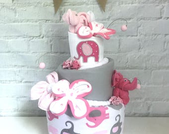 Elephant diaper cake Baby shower centerpieces Baby shower decor Pink and gray elephant baby shower Monogrammed baby gift Elephant sprinkle