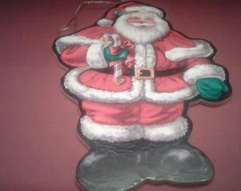 Large Vintage Cardboard Santa Ornament