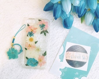 Handmade pressed flowers Silicone case for iphone 8 plus iphone 7 plus case for iphone 7/8 case cover blue pink flowers