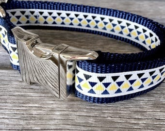 "Business Triangles 1"" Dog Collar, Male Dog Collar, XL Dog Collar, Durable Dog Collar, Boy Dog Collar, Fall Colors Dog Collar"