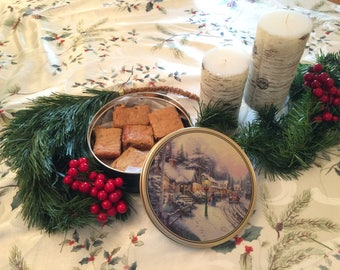 Blondies / Congo Bars in a Christmas Cookie Tin, Nut Free Cookie Care Package, Christmas Corporate Gifts, Cookie Gift Basket, Hostess Gift