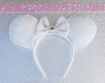 Bridal Just Married mouse ears Headband and Bow by PrincessandPetticoat